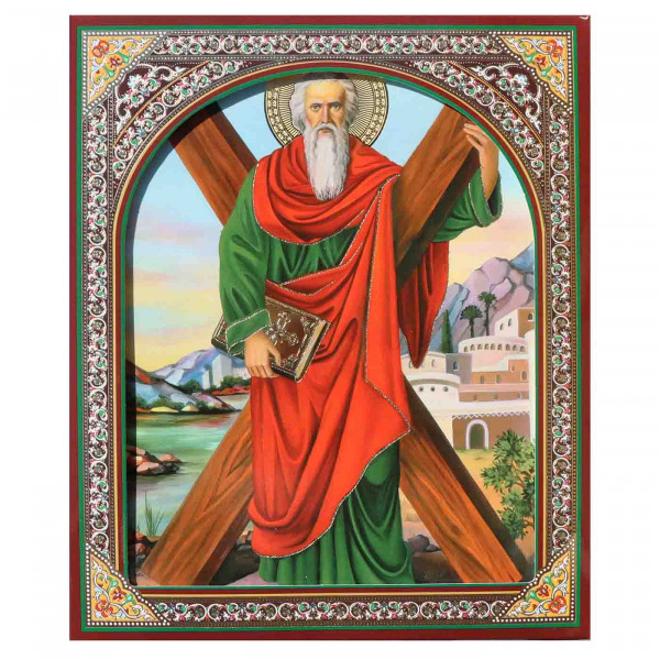 "Ikone (Holz), in Kartonbox, ""Andrej Pervosvannij"", 15x18 cm"