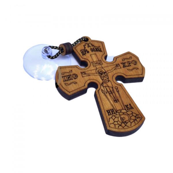 Kreuz aus Holz, mit Saugnapf für Auto, 5,5 х 7 сm