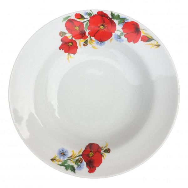 """Suppenteller aus Porzellan 24 cm """"Nostalgie"""" - """"Rote Mohnblumen"""""""