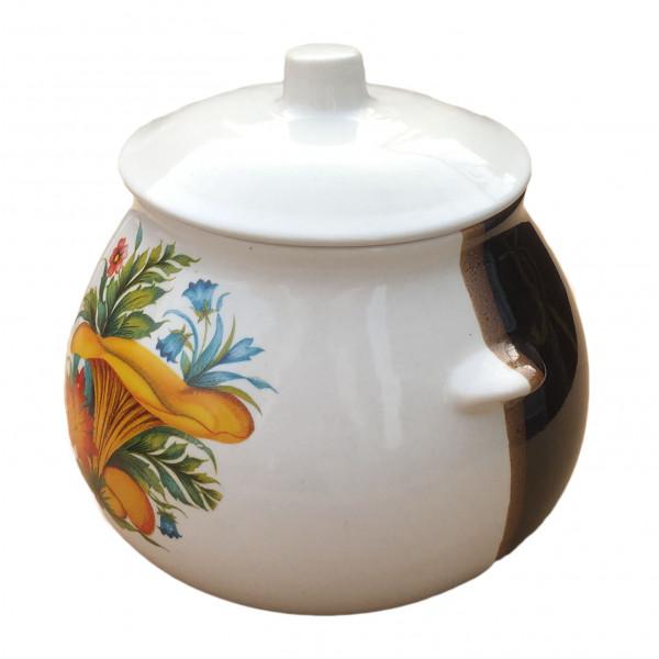 """Keramiktopf """"Dekor"""", """"Weiß-Braun mit Pilzen Pfifferling"""" 650 ml, Set aus 6 St."""