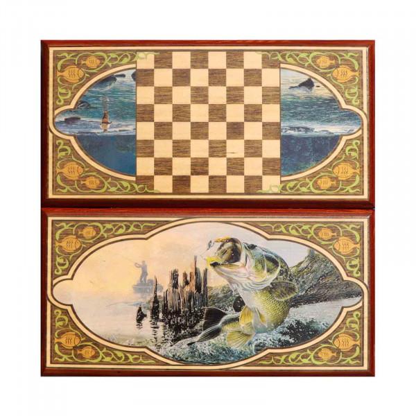 """Backgammon """"Fischen"""", aus Holz, 400x200 mm"""