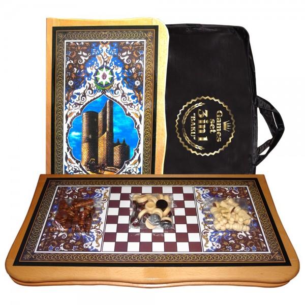 "Brettspielset 3in1 ""Baku"", aus lackiertem Holz, 56x56 cm"