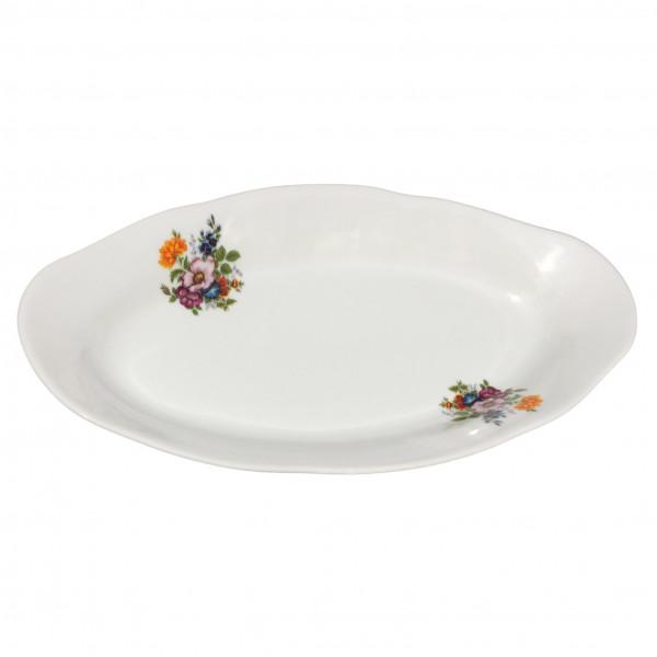 """Teller oval aus Porzellan 25 cm """"Nostalgie"""" - """"Blumenwiese"""""""