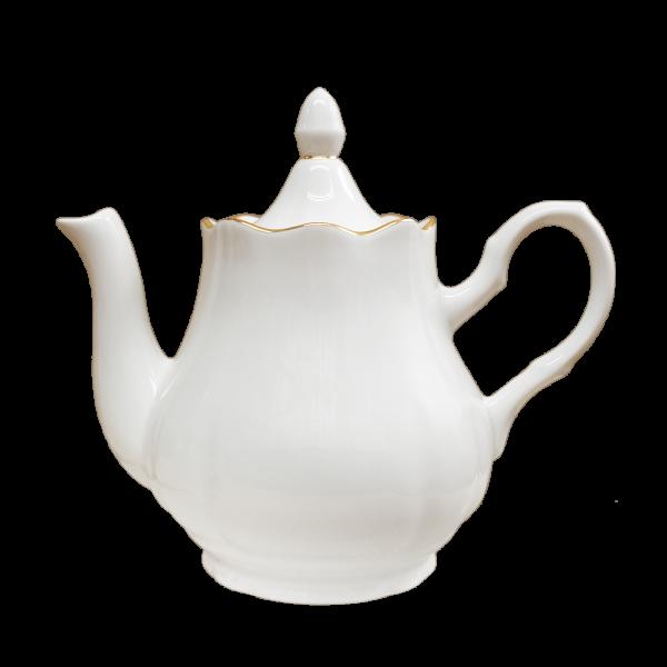 """Teekanne aus Porzellan 800 ml """"Nostalgie"""" - """"Weiß mit Gold"""""""