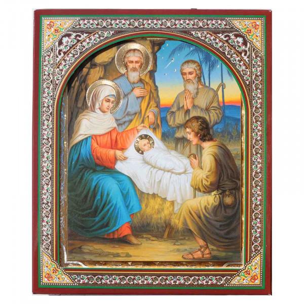 """Ikone (Holz), in Kartonbox, """"Weihnachten"""", 15x18 cm"""