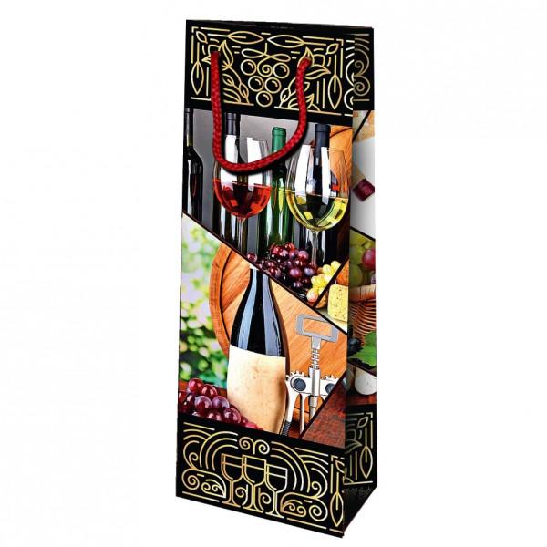 """Geschenktasche für Wein/Sekt """" Weiß und Rot Wein"""", 36x13 cm"""