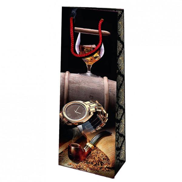 """Geschenktasche für Whisky/Cognac """"Mit einer Armbanduhr"""", 36x13 cm"""