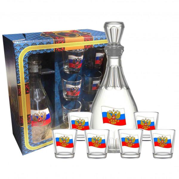 """Set Wodkagläser mit Karaffe Dionisos aus 6 St., 50 ml, """"Flagge von Russland"""""""