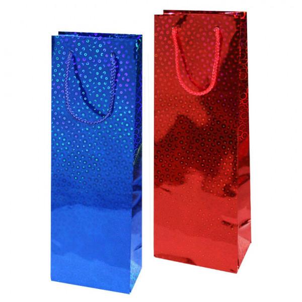 """Geschenktasche-Set für Wein/Sekt """"Holographie"""", 36x13, (Rot + Blau)"""