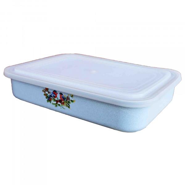 """Behälter emailliert """"Snegiri"""" (Blau), 2,5 L, mit Plastikdeckel"""