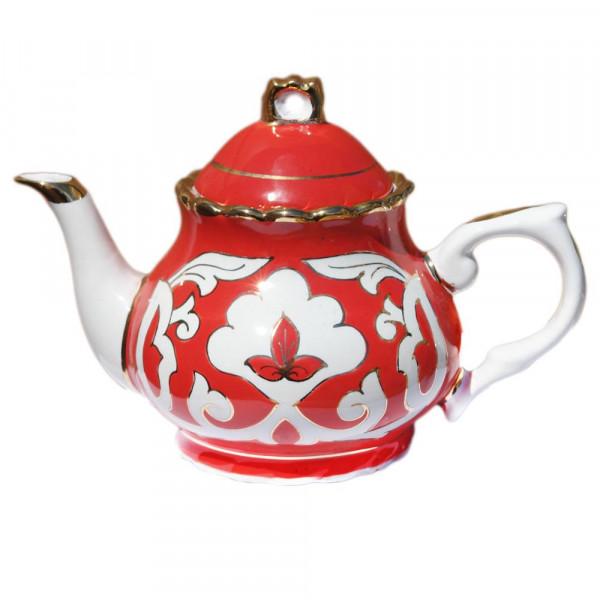"Teekanne 800 ml ""Rote Pachta Gold"" aus Porzellan"