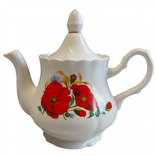 """Teekanne aus Porzellan 800 ml """"Nostalgie"""" - """"Rote Mohnblumen"""""""