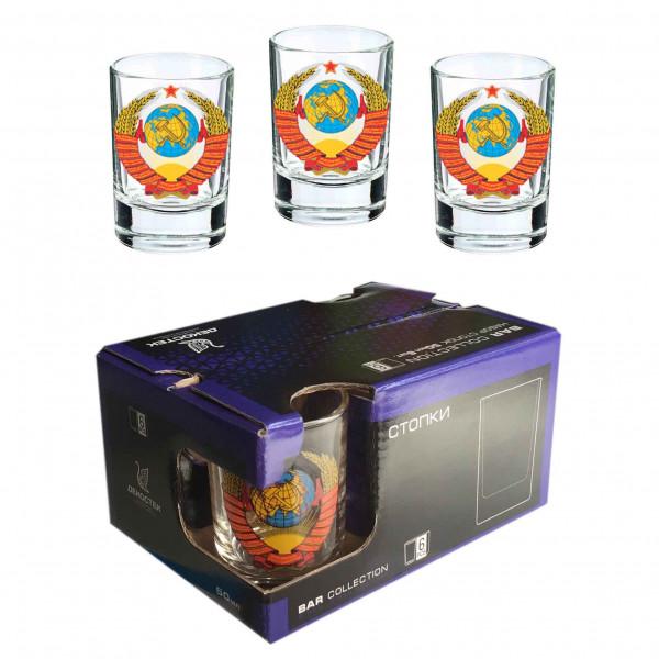 """Wodkagläser set """"Bar Collection"""" aus 6 St., 50 ml, """"Wappen von USSR"""""""
