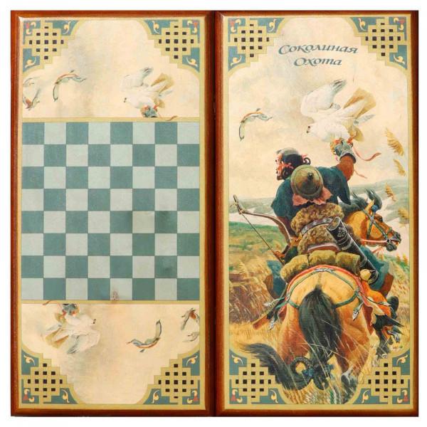"Backgammon ""Falkenjagd"", aus Holz, 600x300 mm"