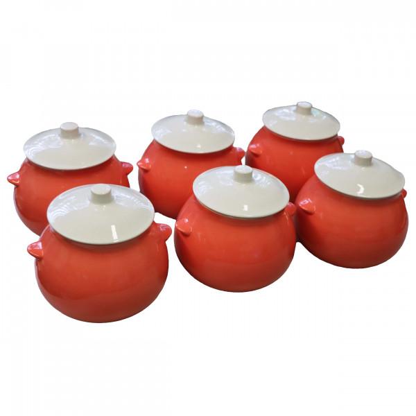 "Keramiktopf ""Dekor"", ""Koralle"", 650 ml, Set aus 6 St."