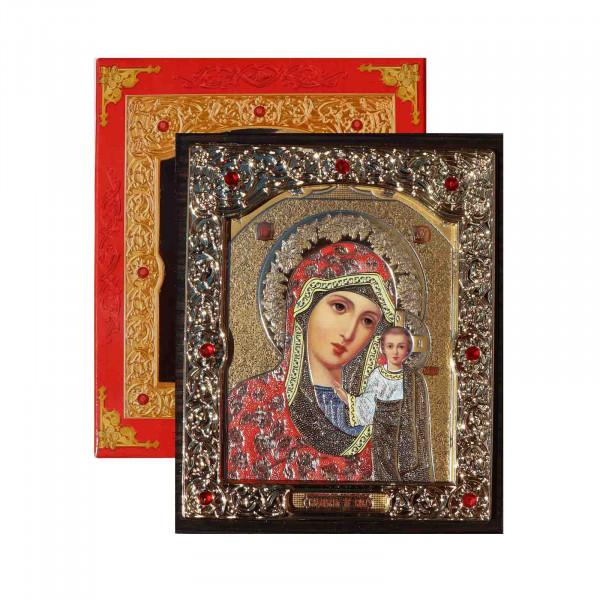 """Ikone (Holz) mit Prägung, in Geschenkbox, """"Kasanskaja"""" Rot, 10x12 cm"""