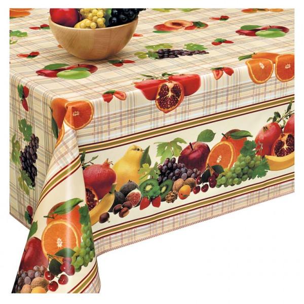 Tischdecke D, Obst auf dem Karierte, 20x1,4 m