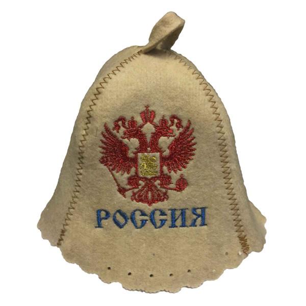 """Filzhut für Sauna, """"Россия"""", Wappen"""