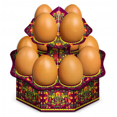 "Tablett für 12 Ostereier ""Khokhloma"" aus Karton"