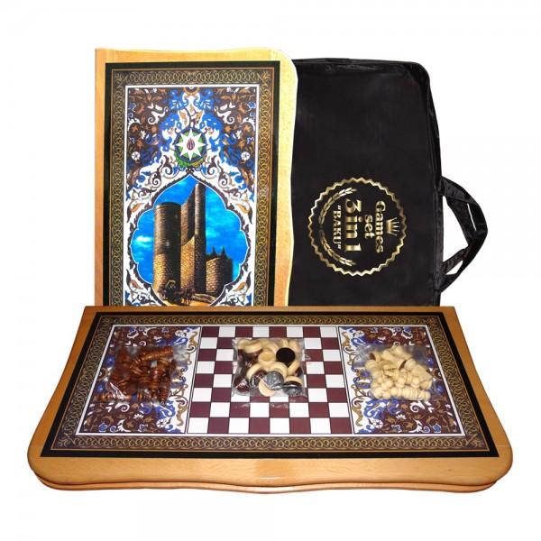 "Brettspielset 3in1 ""Baku"", aus lackiertem Holz, 46x46 cm"