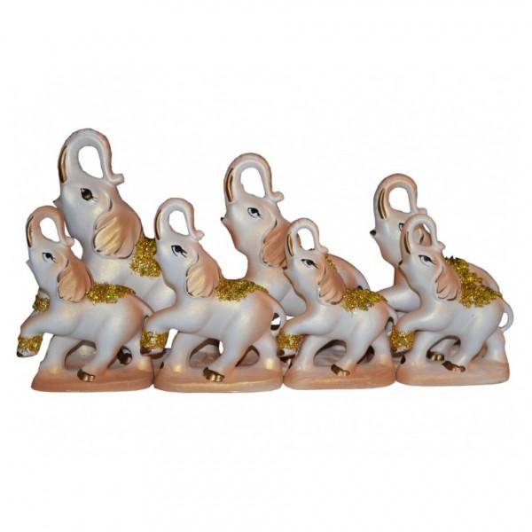 """Figurenset """" 7 Elefanten"""", Perlmutt mit Gold, 12-19 cm"""