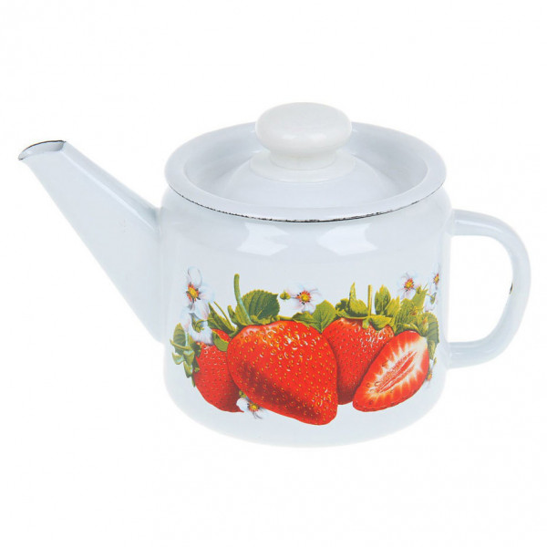 "Teekanne, emailliert, 1,0 L ""Erdbeere"""