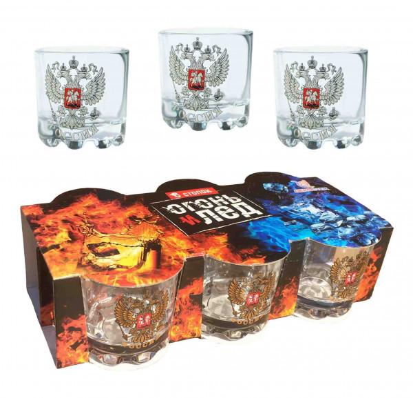 """Wodkagläser set """"Feuer und Eis"""" aus 6 St., 50 ml, """"Wappen von Russland"""""""