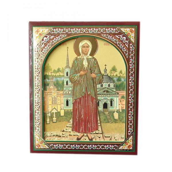 """Ikone (Holz), in Kartonbox, """"Ksenija Peterburzskaja"""", 10x12 cm"""