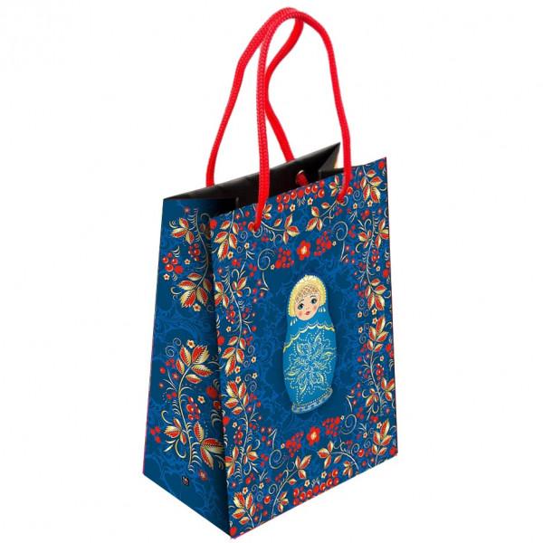 """Geschenktasche """"Matroschka, blau"""", L, 44x32 cm"""