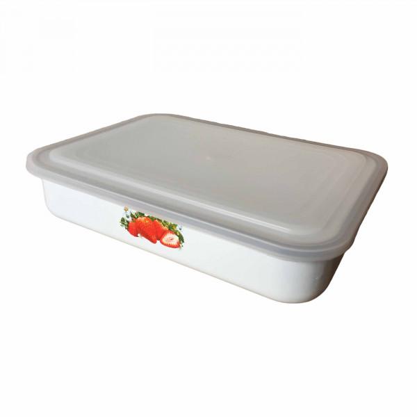 """Behälter emailliert """"Erdbeere"""", 1,5 L, mit Plastikdeckel"""
