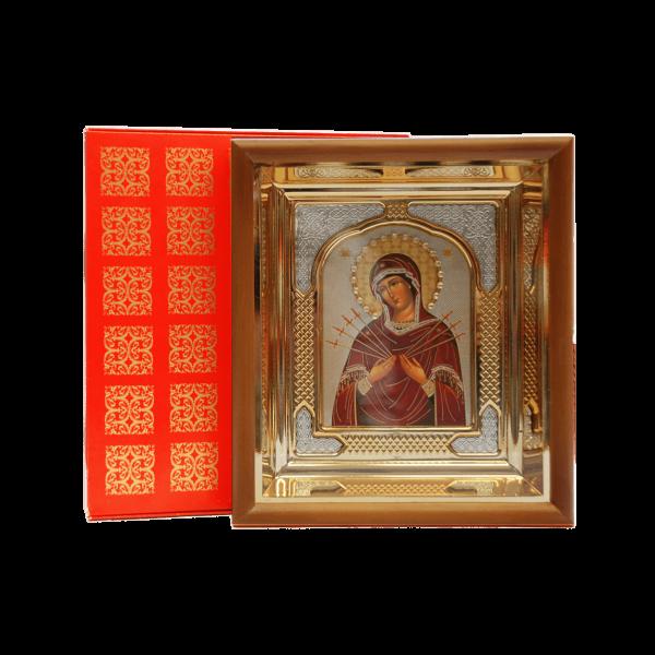 """Ikone mit Holzrahmen in Geschenkbox, """"Semistrelnaja"""", 10x12 cm"""