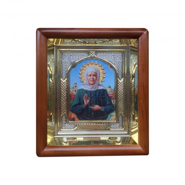 """Ikone mit Holzrahmen in Geschenkbox, """"Matrona"""", 10x12 cm"""