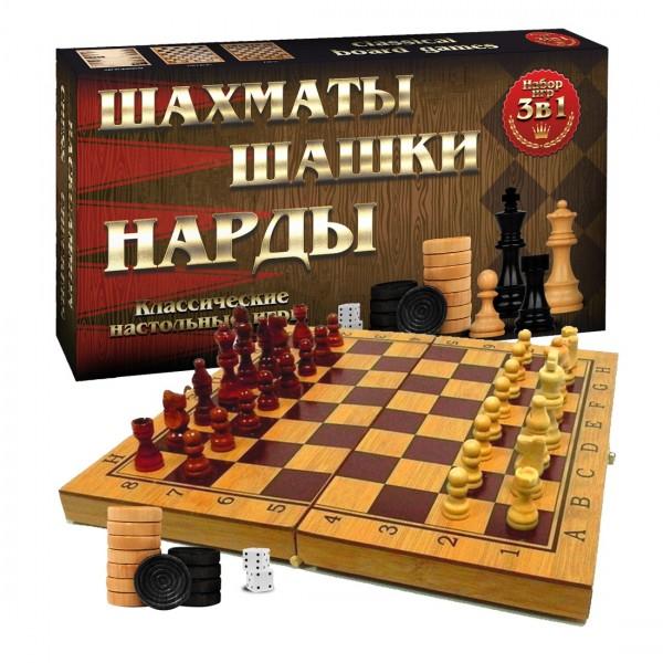 Brettspielset 3in1, in Bambusbox, 40x40 cm