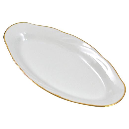 """Teller oval aus Porzellan 25 cm """"Nostalgie"""" - """"Weiß und Gold"""""""