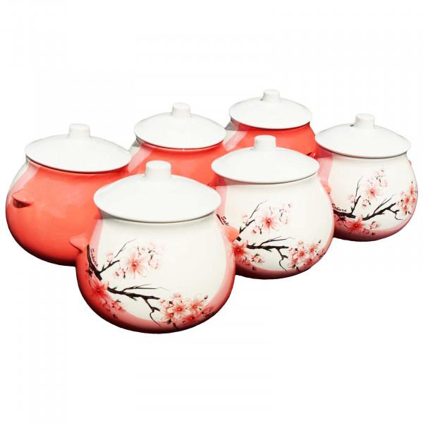 "Keramiktopf ""Dekor"", ""Sakura"", 650 ml, Set aus 6 St."