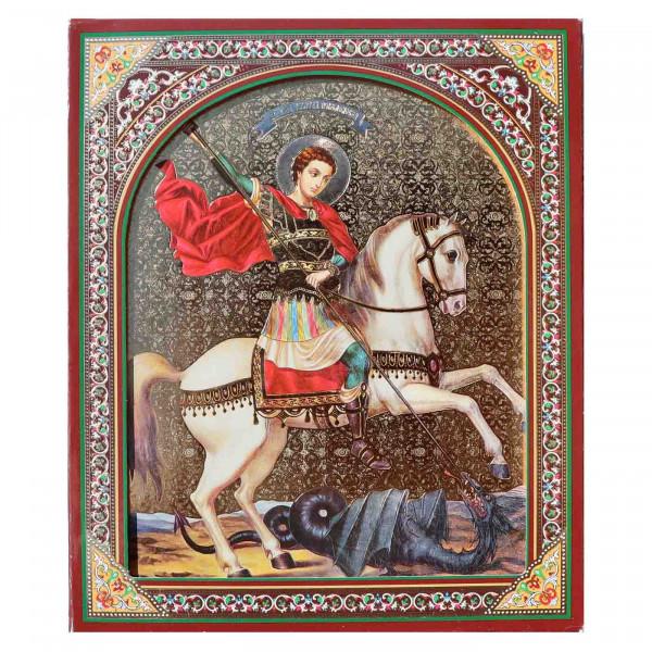 "Ikone (Holz), in Kartonbox, ""Georgy Pobedonosec"", 15x18 cm"