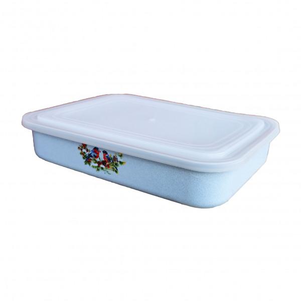 """Behälter emailliert """"Snegiri"""" (Blau), 0,8 L, mit Plastikdeckel"""