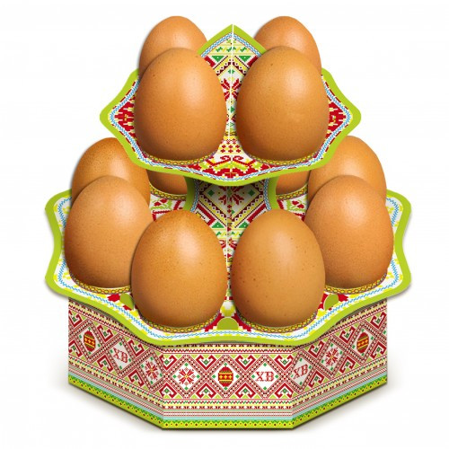 "Tablett für 12 Ostereier ""Traditionnaja"" aus Karton"