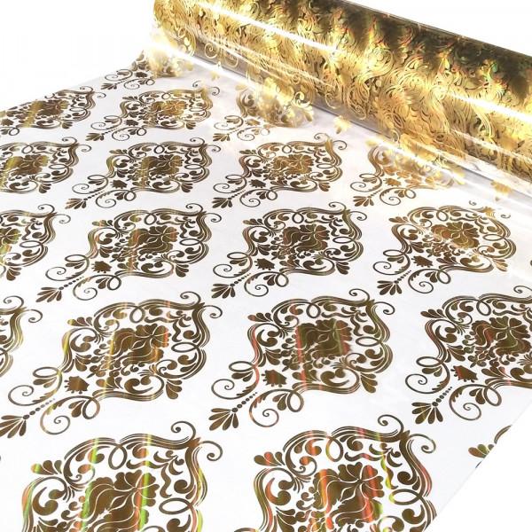 "Tischdecke PVC ""3D"", goldenes Muster, 100cm/15m"
