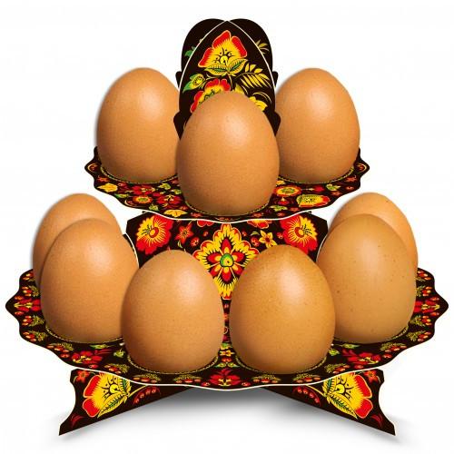 "Tablett für 12 Ostereier ""Khokhloma"" (Schwarz) aus Karton"