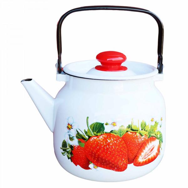 "Teekanne, emailliert, 3,5 L ""Erdbeere"""