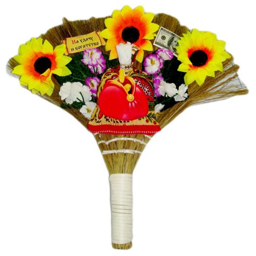 """Glücksbringer Besen """"Obereg"""", mit Blumen, 25 cm"""