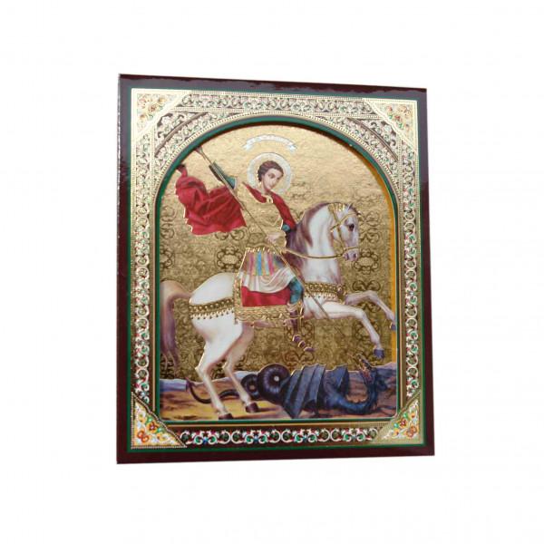 "Ikone (Holz), in Kartonbox, ""S. Georgij"", 10x12 cm"