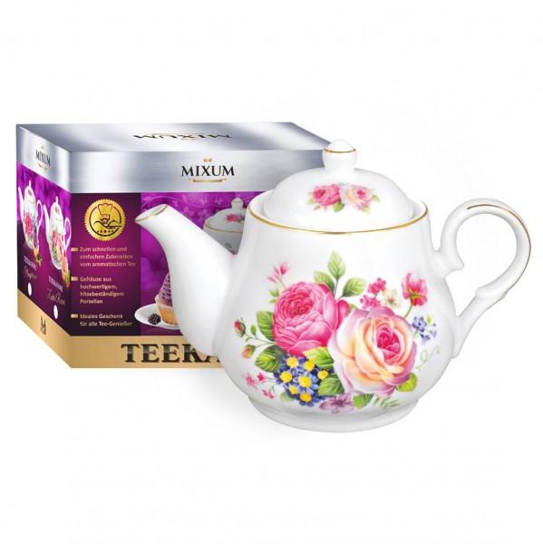 """Teekanne aus Porzellan 800 ml """"Zarte Rosen"""" mit goldenen Kanten"""