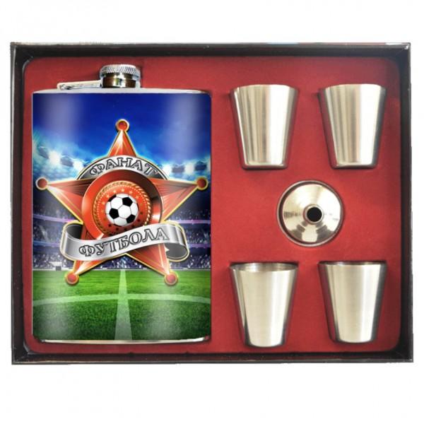 """Flachmann """"Fußballfan"""" 240 ml + 4 Gläser"""