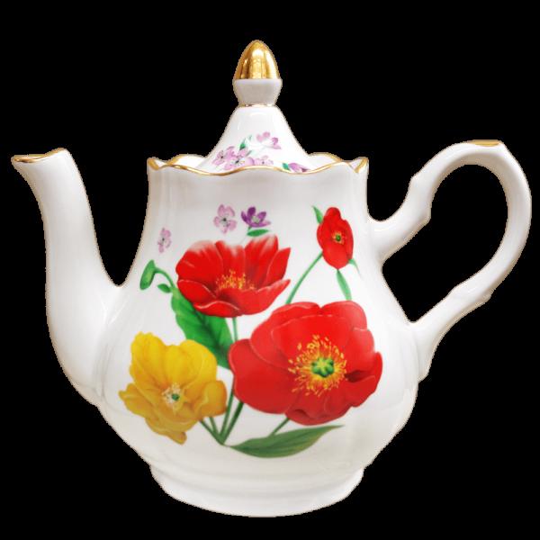 """Teekanne aus Porzellan 1750 ml """"Nostalgie"""" - """"Mohnblumen mit Gold"""""""