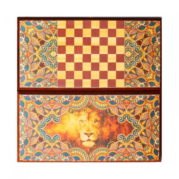 """Backgammon """"Löwe"""", aus Holz, 400x200 mm"""