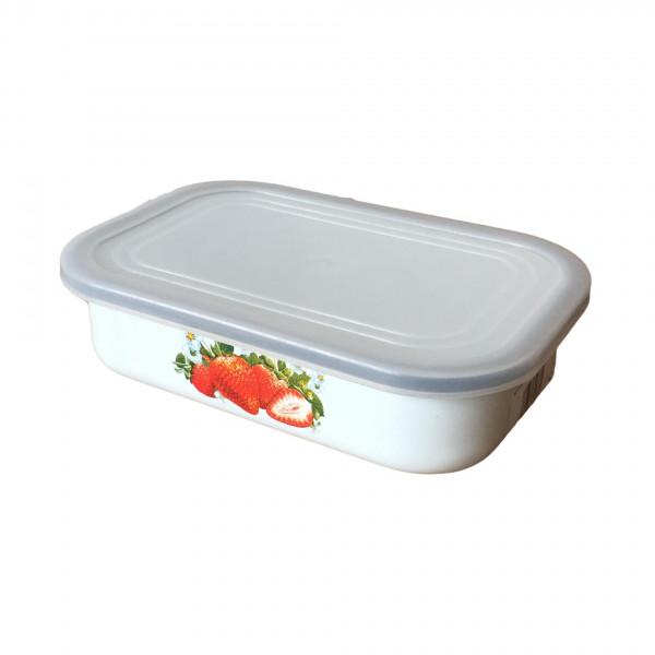 """Behälter emailliert """"Erdbeere"""", 0,8 L, mit Plastikdeckel"""