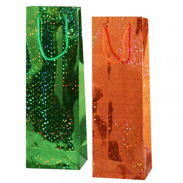"""Geschenktasche-Set für Wein/Sekt """"Holographie"""", 36x13, (Orange+ Grün)"""