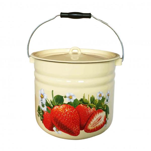 """Eimer mit Deckel, 9,0 L, """"Erdbeere"""" emailliert, (Gelb)"""